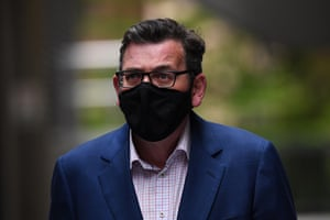 Victorian premier Daniel Andrews arrives to a press conference in Melbourne on Monday.