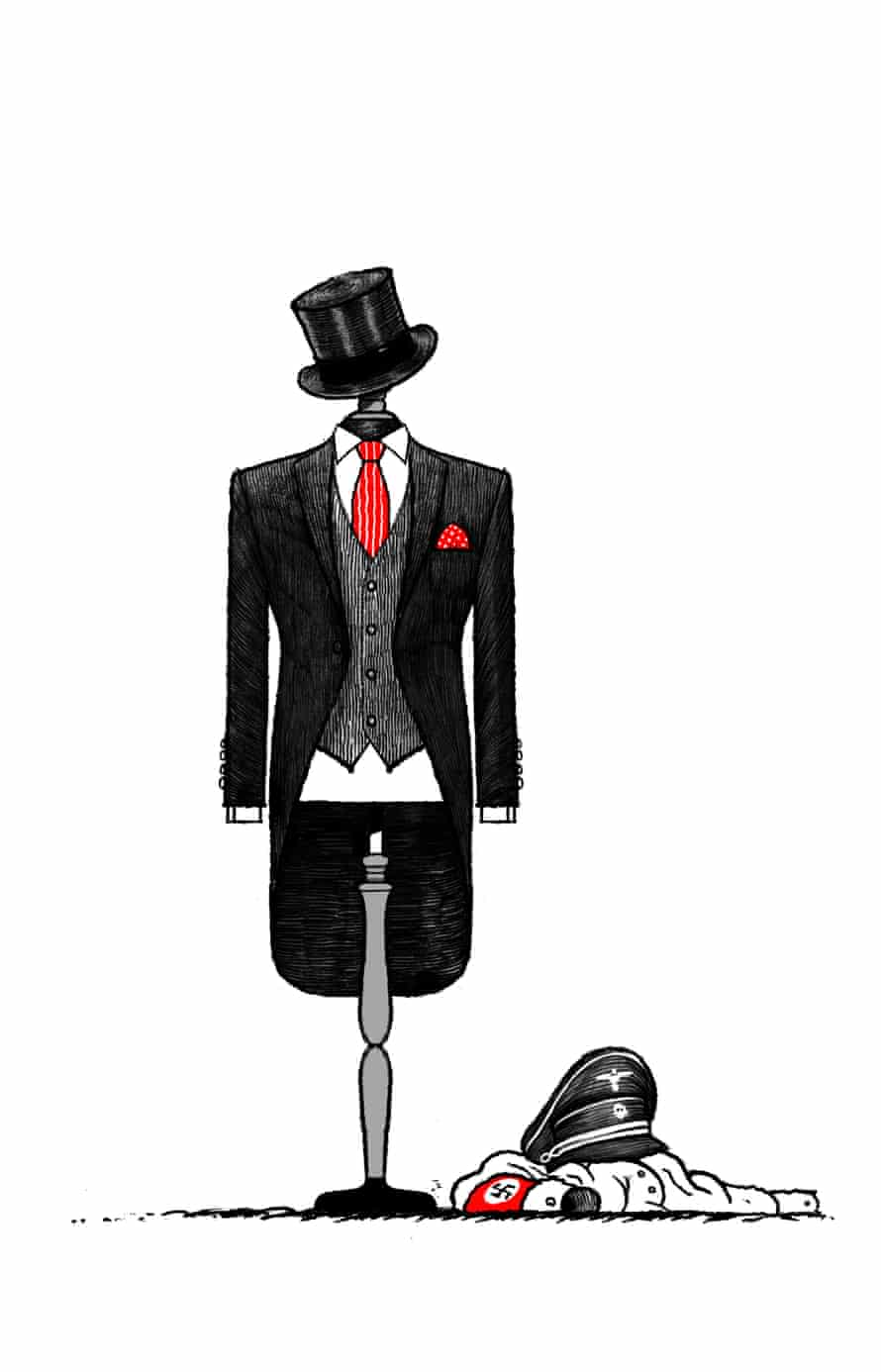 Illustration by David Foldvari of a three-piece suit on a dummy, with a Nazi uniform crumpled on the floor