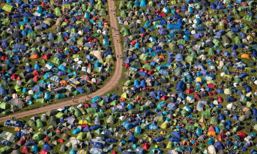 An aerial view of tents at Glastonbury festival at Worthy Farm in Somerset, UK.