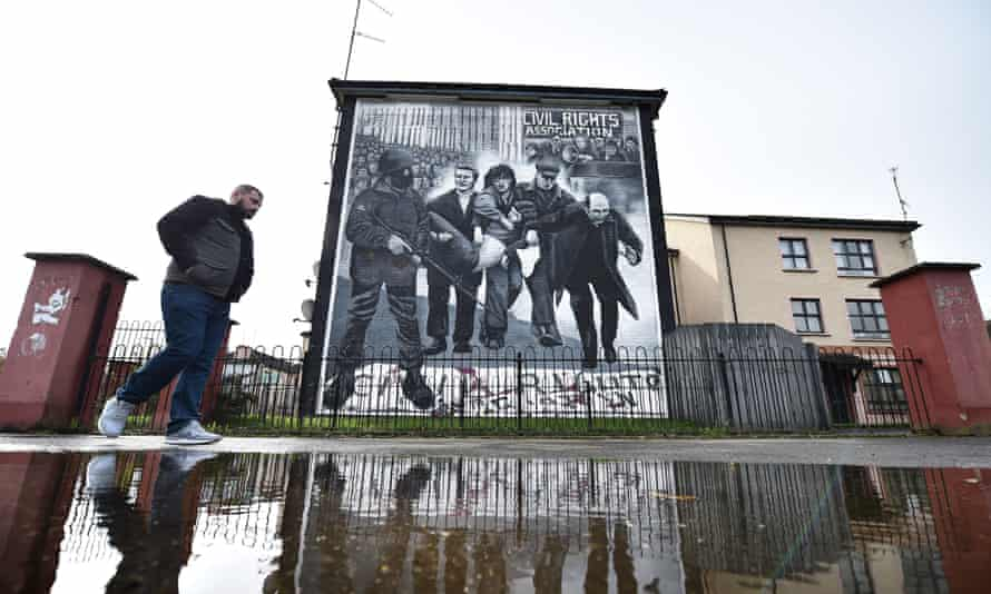 A Bloody Sunday mural in the Rossville Street area of Derry