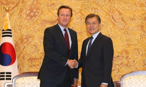 David Cameron and South Korea's president, Moon Jae-in, in Seoul