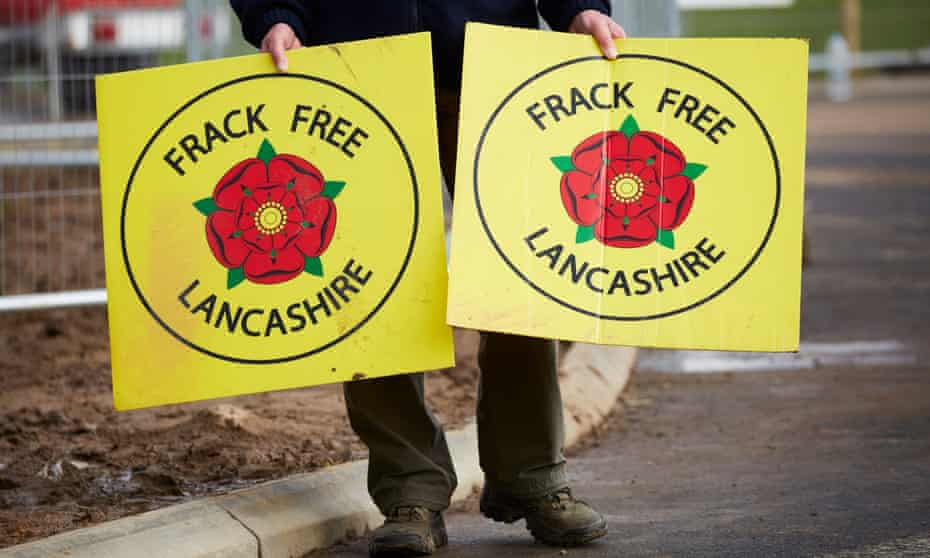 An anti-fracking protester at Preston New Road in Lancashire