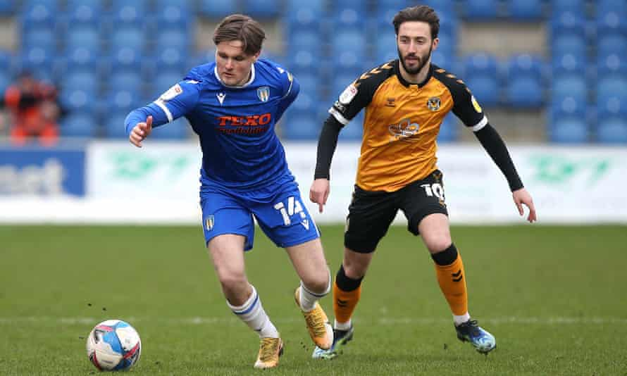 Noah Chilvers playing for Colchester against Newport in March.