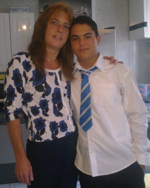 Naderi aged 13 with his foster mother, Dawn Jackson