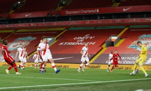 Liverpool's Sadio Mane fires the ball home but it's chalked off for offside.
