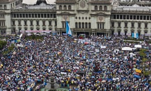 Protesters gather outside the National Palace.