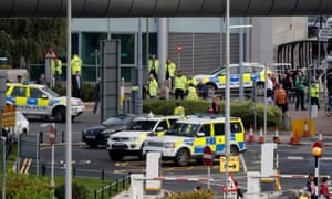 Police at Manchester airport after reports of a suspect package.