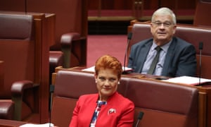 One Nation leader Pauline Hanson with Senate party colleague Brian Burston.