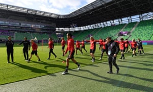 Lyon are put through their paces during a training session in Ferencvárosi Stadium in Budapest where they will play Barcelona in the Women's Champions League final.