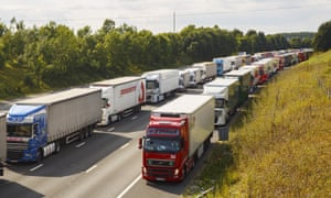 Thousands of lorries queue for miles on their way to the Dover during Operation Stack in 2015