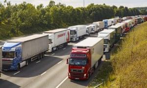 Lorries queue in Kent