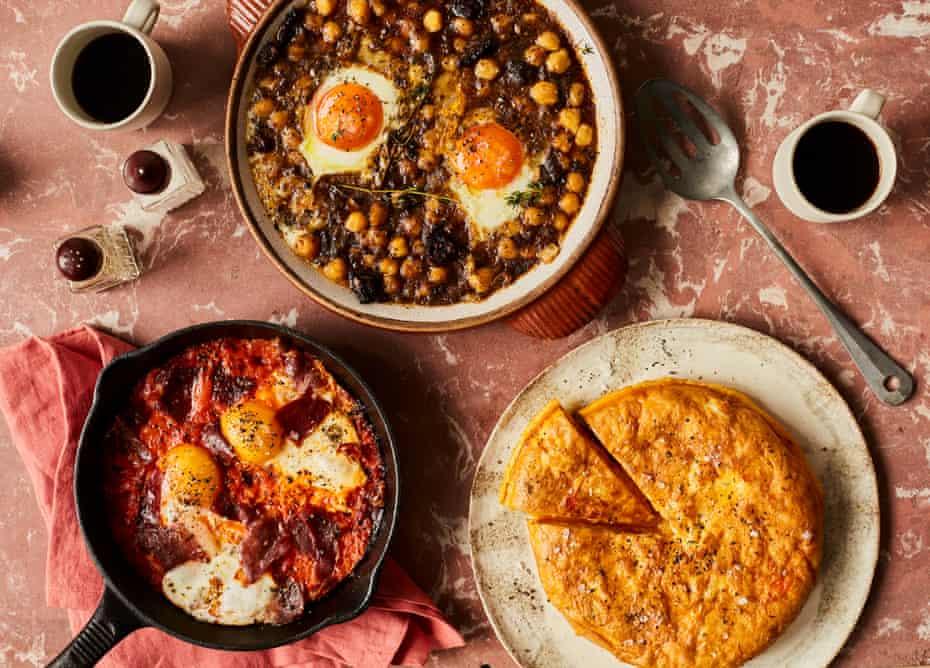 Peter Sanchez-Iglesias' Spanish eggy brunches: eggs, morcilla, chickpeas (top), cheat's tortilla (bottom right), and huevos a la Flamenca.