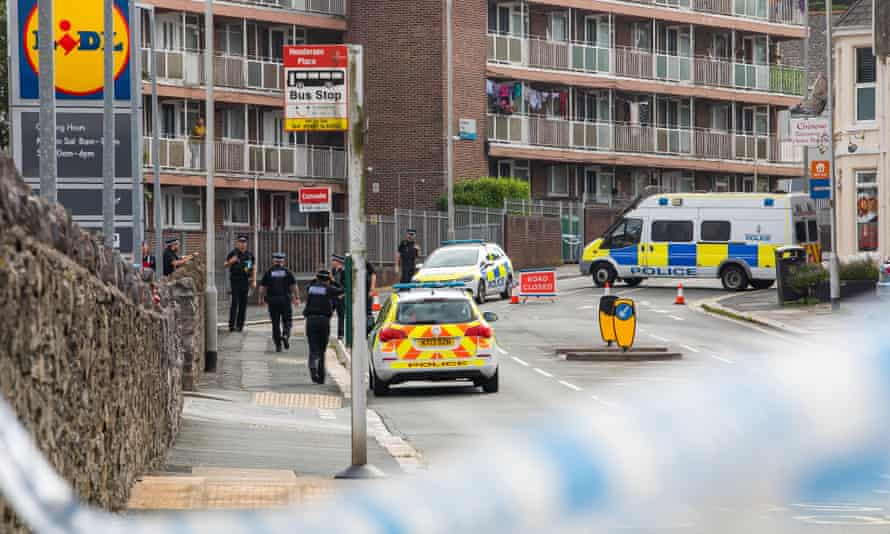 Police at Henderson Place in Keyham, Plymouth after the shootings on Thursday.