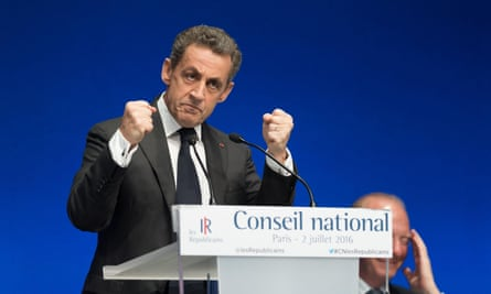 Nicolas Sarkozy speaks at the National Council of Les Republicains in Paris where he confirmed he is stepping down as party leader to run again for French president.