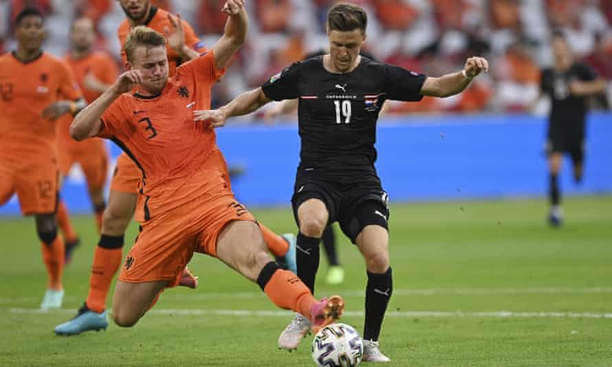 Matthijs de Ligt stops Austria's Christoph Baumgartner in his tracks during the Netherlands' 2-0 victory
