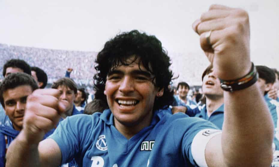 Diego Maradona celebrates after inspiring Napoli to their first Italian title in 1987.