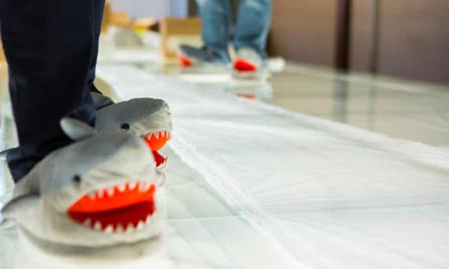 Project Loon staff wore shark slippers while analyzing damage to the balloons.