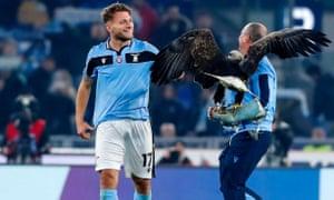 Lazio's Ciro Immobile celebrates victory over Inter at the end of the match.