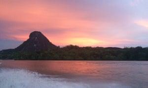 Guiana Shield rock formation in the Amazon rainforest from Orinoco river