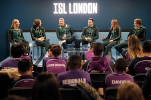 Members of the London Roar team, including Cate Campbell and Adam Peaty, do a question and answer session for a local club that had to cancel its usual training time in the pool to make room for the Roar training before the International Swimming League meeting.
