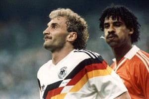 An infamous moment between Netherlands player Frank Rijkaard and Germany's Rudi Völler at Italia '90.