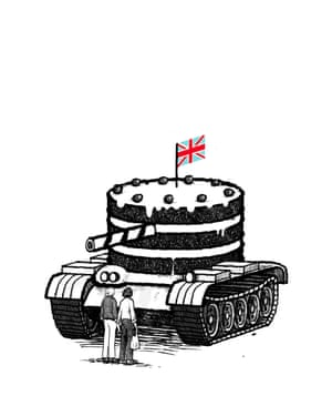 Illustration by David Foldvari of Mel and Sue in front of a cake-tank.