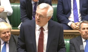 David Davis, flanked by Boris Johnson and Liam Fox, during his first government frontbench outing in 19 years.
