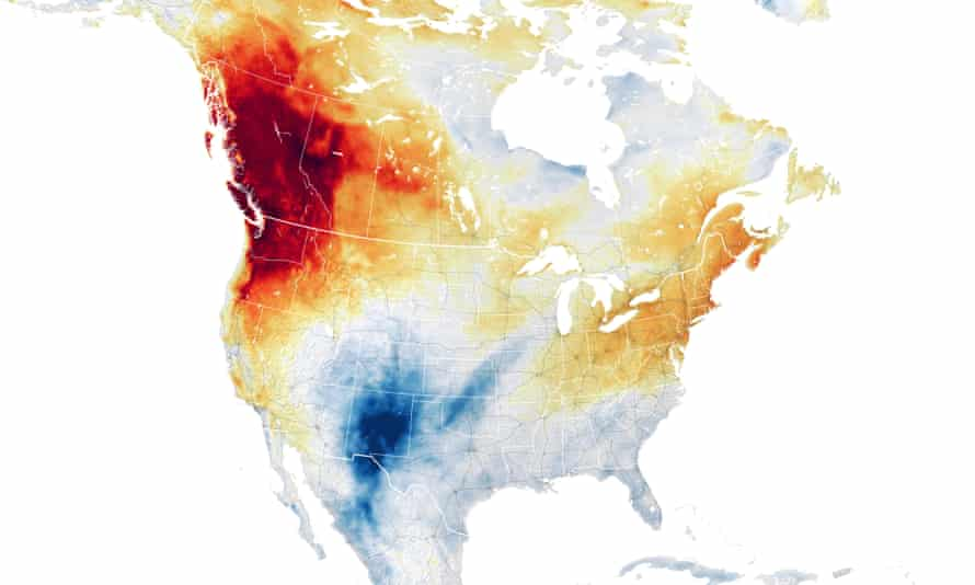 Air temperature anomalies across the western US and Canada on 29 June 2021