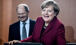 Angela Merkel and her finance minister Olaf Scholz