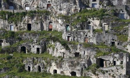 The Sassi limestone cave dwellings in Matera.