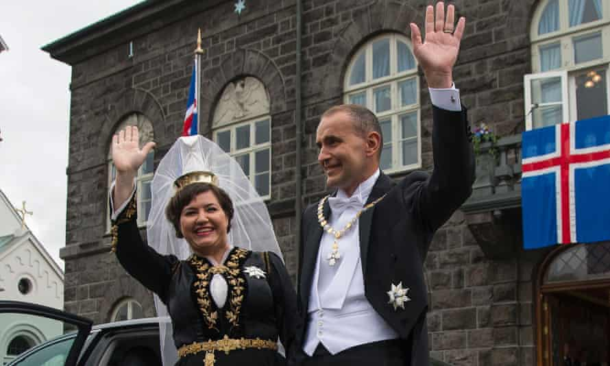The president of Iceland, Guðni Jóhannesson, and his wife, Eliza Reid
