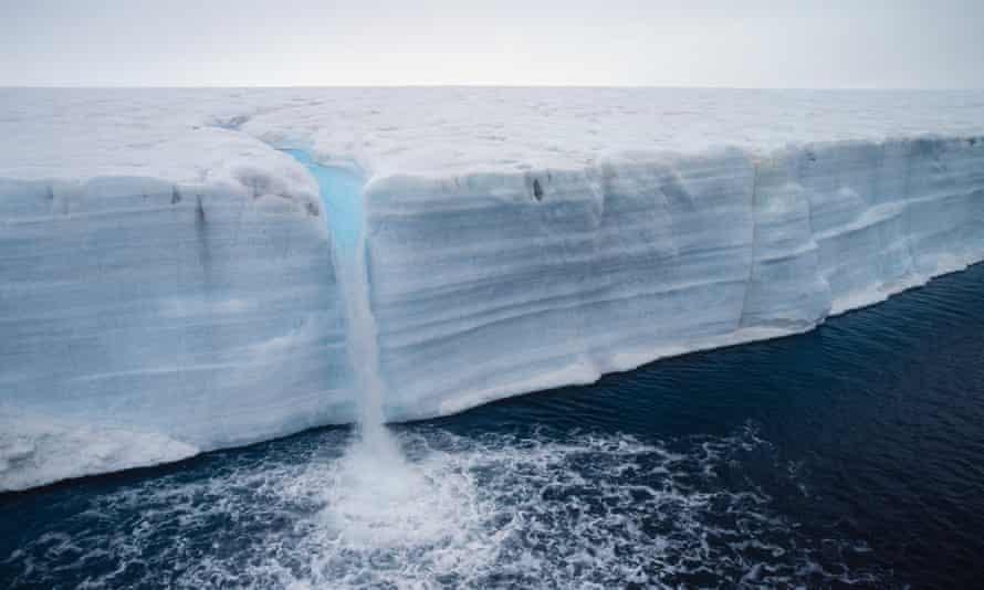 A glacier melting in Svalbard archipelago.