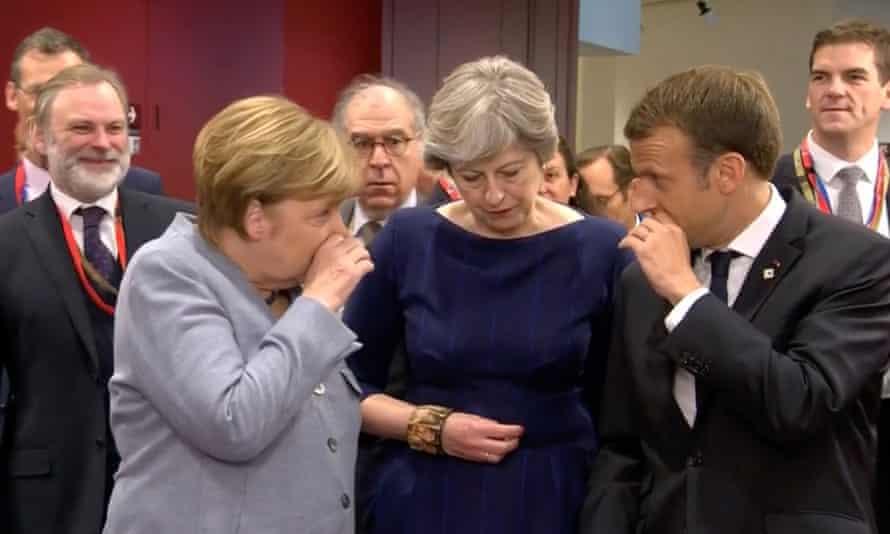 Angela Merkel, Theresa May and Emmanuelle Macron at a meeting in Brussels