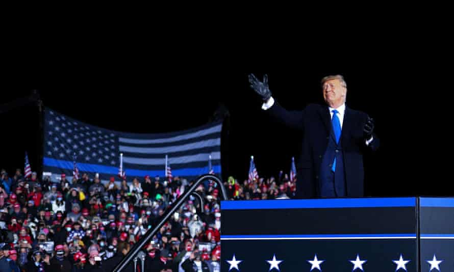 Donald Trump campaigns in Wisconsin on 24 October 2020.