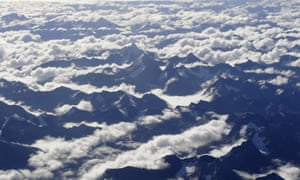 Aerial view of snowy mountains in the Tibetan plateau