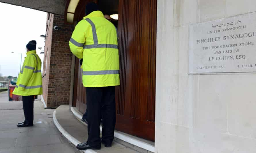 Security at a synagogue in north London. A large increase in anti-Jewish hate incidents has been recorded nationwide.