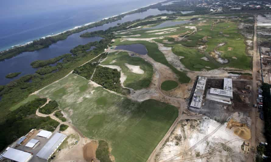 Aerial view of the construction site of Rio 2016's golf venue.