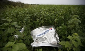 Debris from the Malaysia Airlines Boeing 777 lies in a field near the village of Rozsypne
