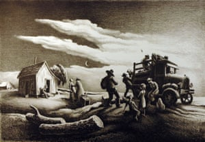 """Thomas Hart Benton, """"Departure of the Joads,"""" 1939. Lithograph. Gift of Mr. and Mrs. Leslie L. Johnson. 1976"""