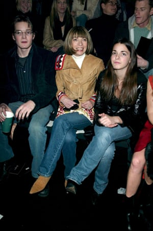 With her children at a Sean John fashion show in New York, 2003.