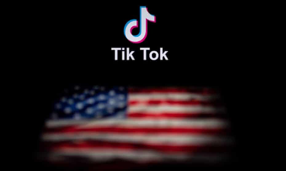 TikTok logo above American flag