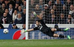 Buffon saves.
