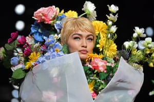 Gigi Hadid during the Moschino show at Milan fashion week