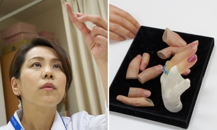 Yukako Fukushima, who makes prosthetic small fingers for reformed Japanese gangsters, at her workshop in Osaka, Japan.
