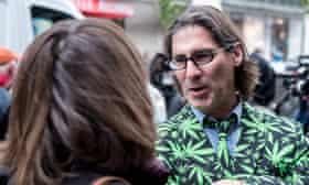 Quebec comedian and journalist Jean-René Dufort sports a marijuana leaf jacket.