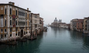 The Grand Canal is pictured from the Accademia bridge in Venice, as the carnival is being cancelled due to the Covid-19 pandemic.
