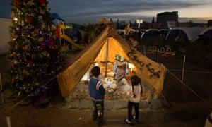 Refugees in Ankawa camp, near Erbil in Iraq, have set up a nativity scene