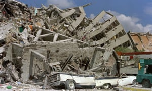 A block of flats collapses in the Zona Rosa area of Mexico City.
