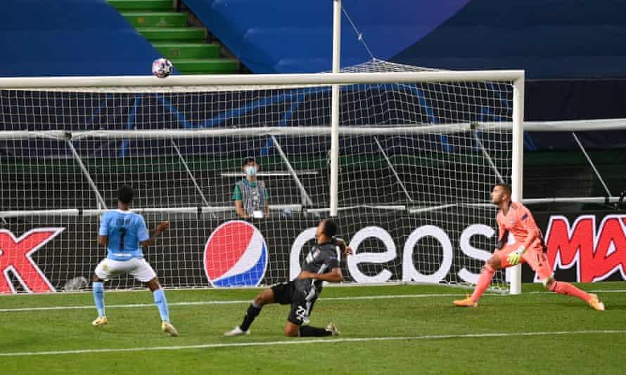 Mancherster City's Raheem Sterling misses an open goal against Lyon