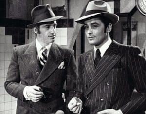 Jean-Paul Belmondo and Alain Delon as Marseille gangsters François Capella and Roch Siffredi in Borsalino, 1970